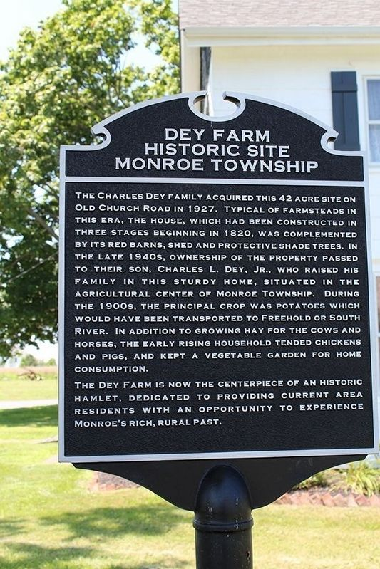 Dey Farm Historic Site Monroe Township Marker image. Click for full size.