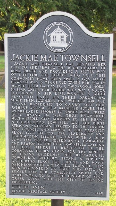 Jackie Mae Townsell Marker image. Click for full size.
