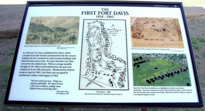 The First Fort Davis (1854-1862) Marker image. Click for full size.