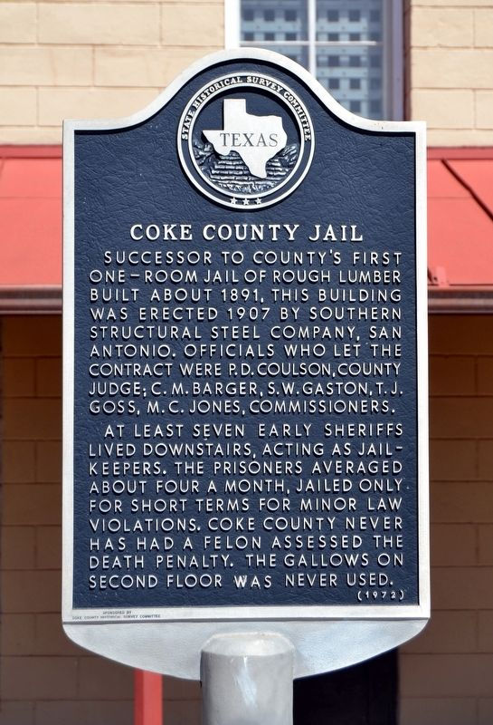 Coke County Jail Marker image. Click for full size.