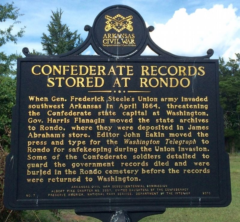 Confederate Records Stored at Rondo Marker image. Click for full size.