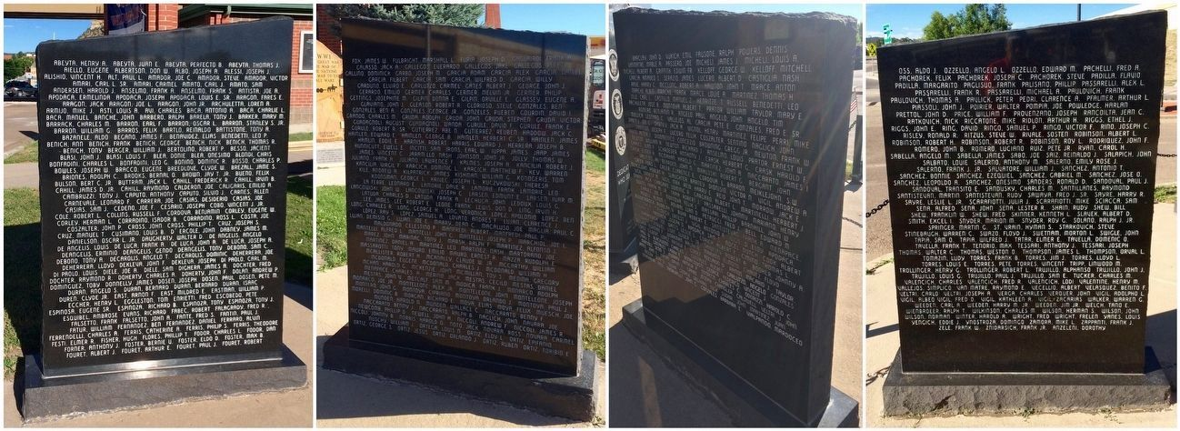 World War II Veterans Memorial names on 4 sides of 2 monoliths. image. Click for full size.