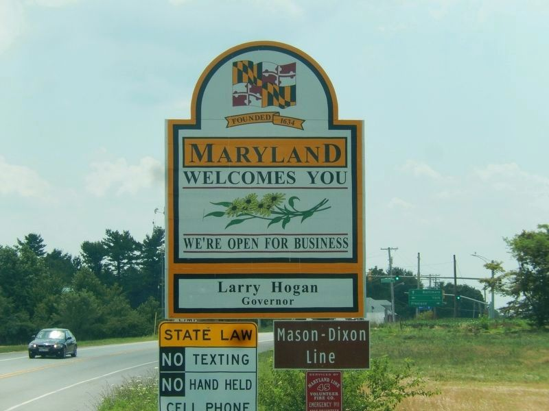 Mason and Dixon Line Marker-Maryland Welcomes You image. Click for full size.