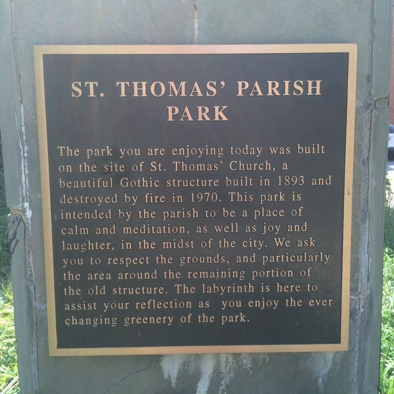 St. Thomas' Parish Park Marker image. Click for full size.