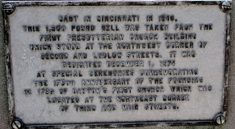 Dayton's First Church Bell Marker image. Click for full size.
