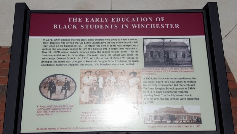 The Early Education Of Black Students In Winchester Marker image. Click for full size.