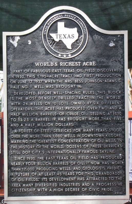 World's Richest Acre Texas Historical Marker image. Click for full size.