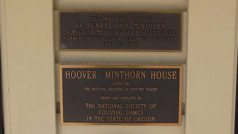Hoover - Minthorn House Marker image. Click for full size.