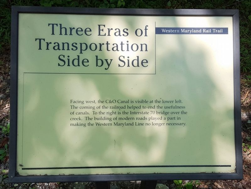 Three Eras of Transportation Side by Side Marker image. Click for full size.
