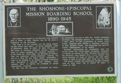 The Shoshone-Episcopal Mission Boarding School Marker image. Click for full size.