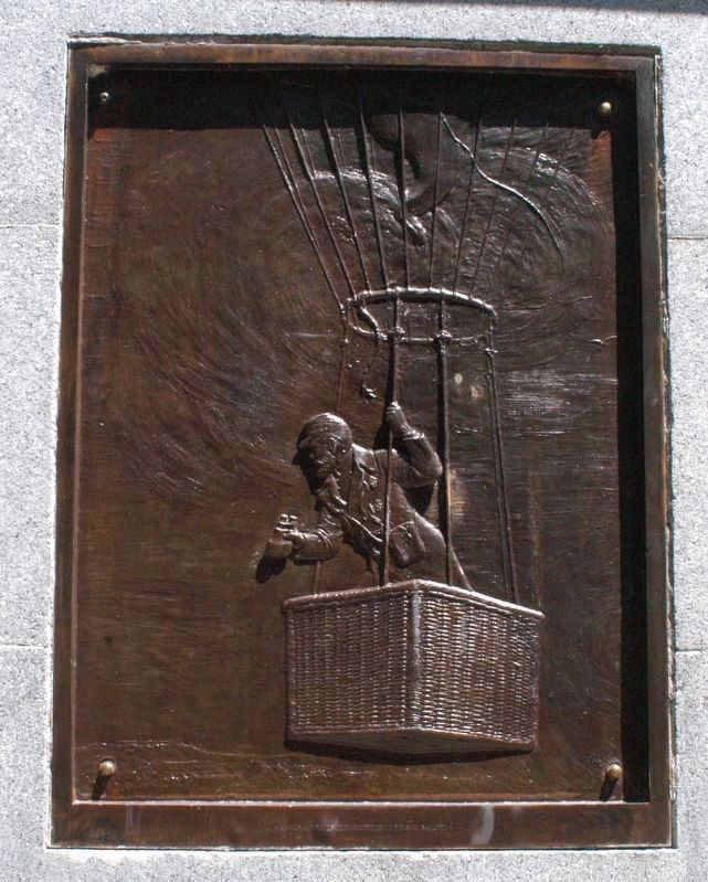 A bas-relief of Fitz John Porter during his famous balloon ride on April 11, 1862. image. Click for full size.
