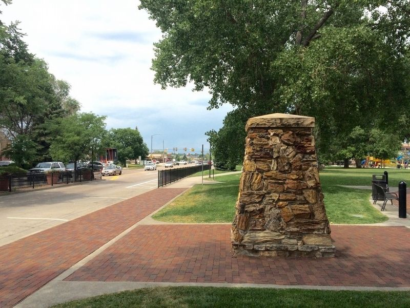 View of marker looking west on Mainstreet. image. Click for full size.