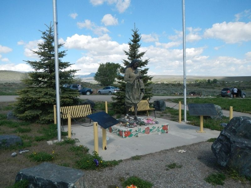 Sacajawea Marker and Statue image. Click for full size.