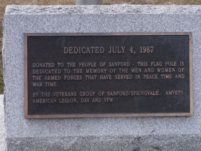 Sanford Maine War Memorial Flagpole Marker image. Click for full size.
