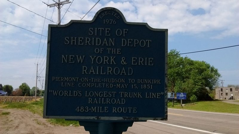 Site of Sheridan Depot of the New York & Erie Railroad Marker image. Click for full size.