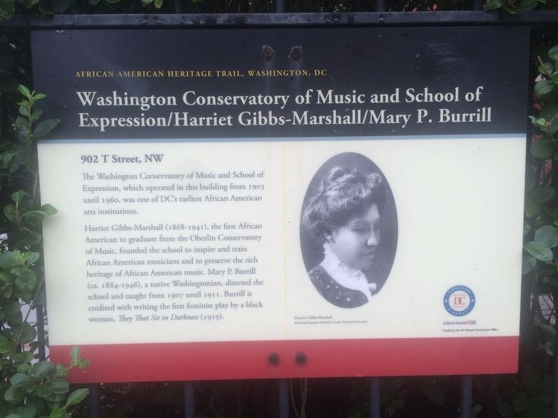 Washington Conservatory of Music and School of Expression Marker image. Click for full size.