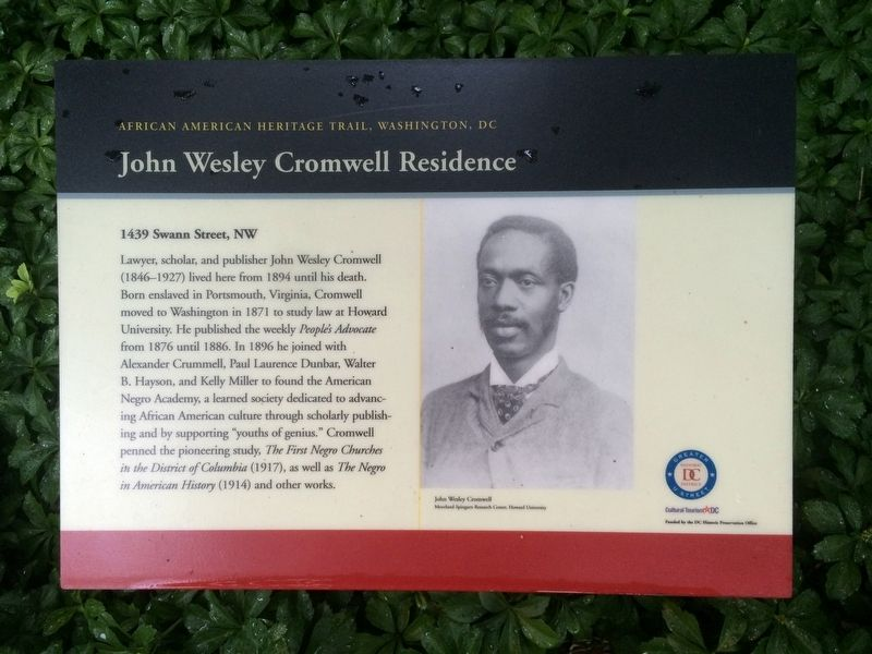 John Wesley Cromwell Residence Marker image. Click for full size.