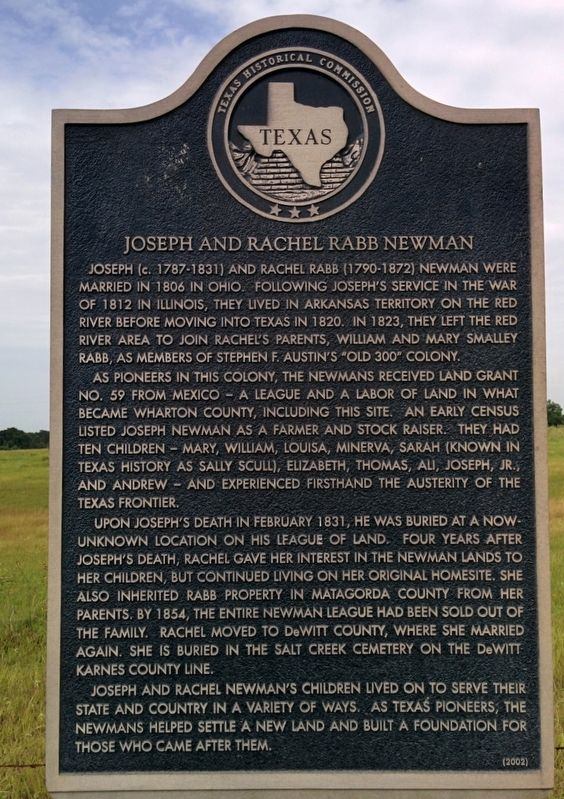 Joseph and Rachel Rabb Newman Marker image. Click for full size.