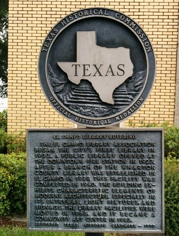 El Campo Library Building Marker image. Click for full size.