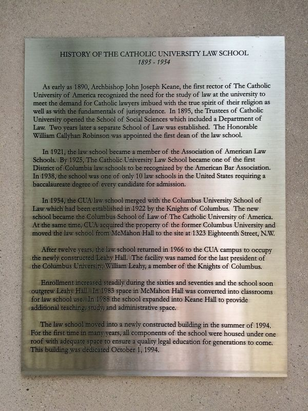 History of the Catholic University Law School Marker image. Click for full size.
