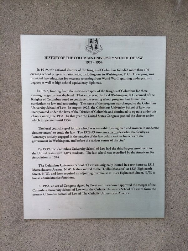 History of the Columbus University School of Law Marker image. Click for full size.