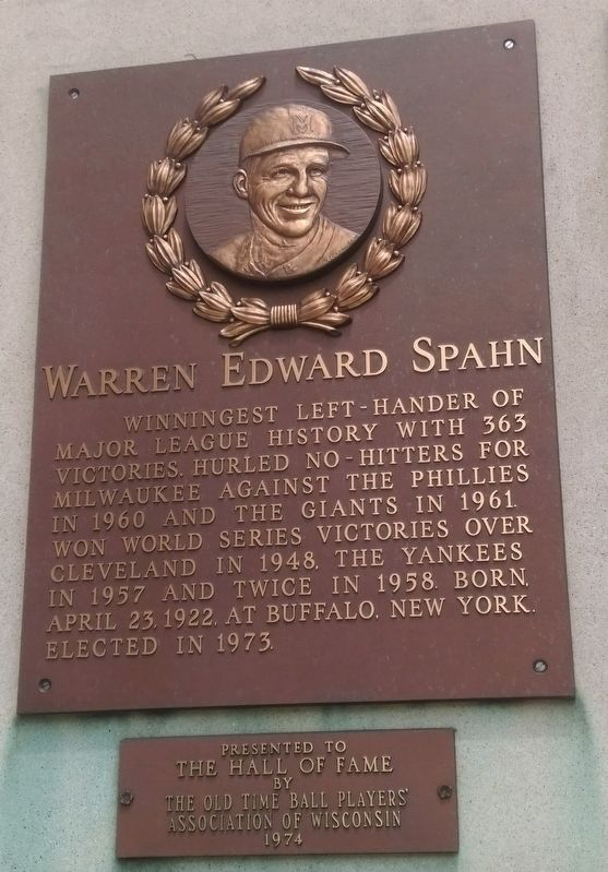 Warren Edward Spahn Marker image. Click for full size.