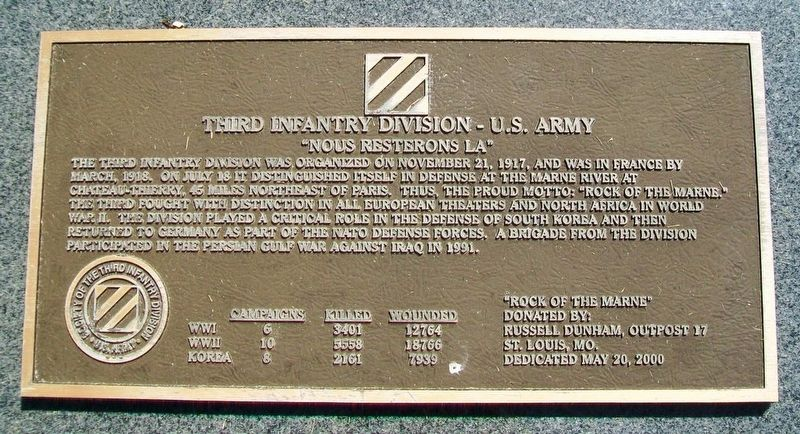 Third Infantry Division - U.S. Army Monument image. Click for full size.