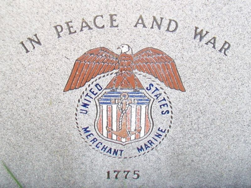 Merchant Marine Emblem on Memorial image. Click for full size.