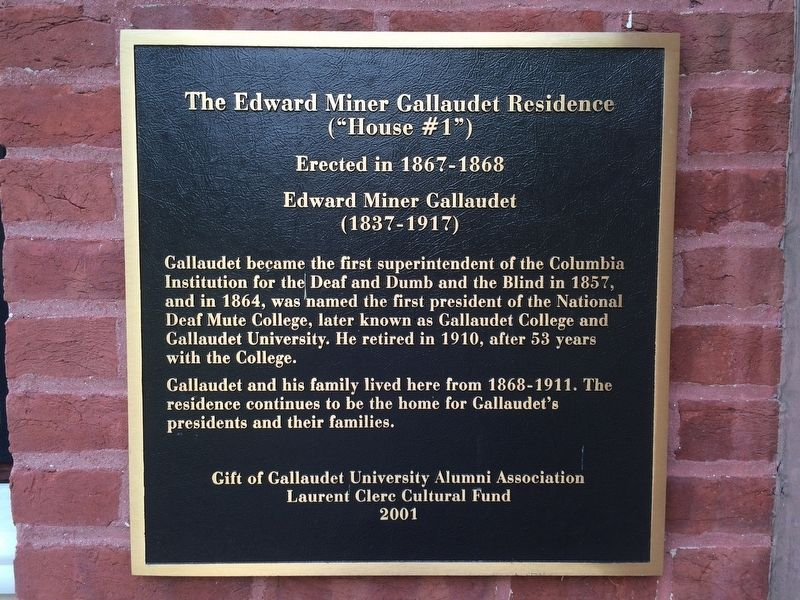 The Edward Miner Gallaudet Residence Marker image. Click for full size.