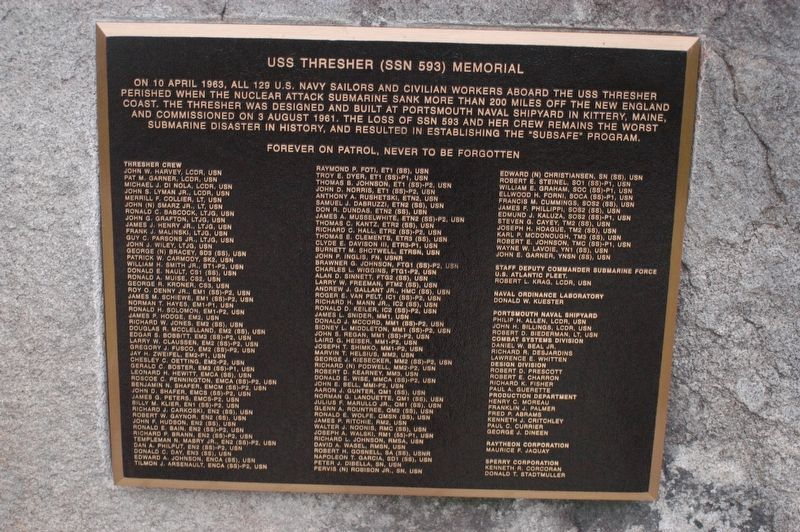 Portsmouth NH USS Thresher (SSN 593) Memorial Marker image. Click for full size.