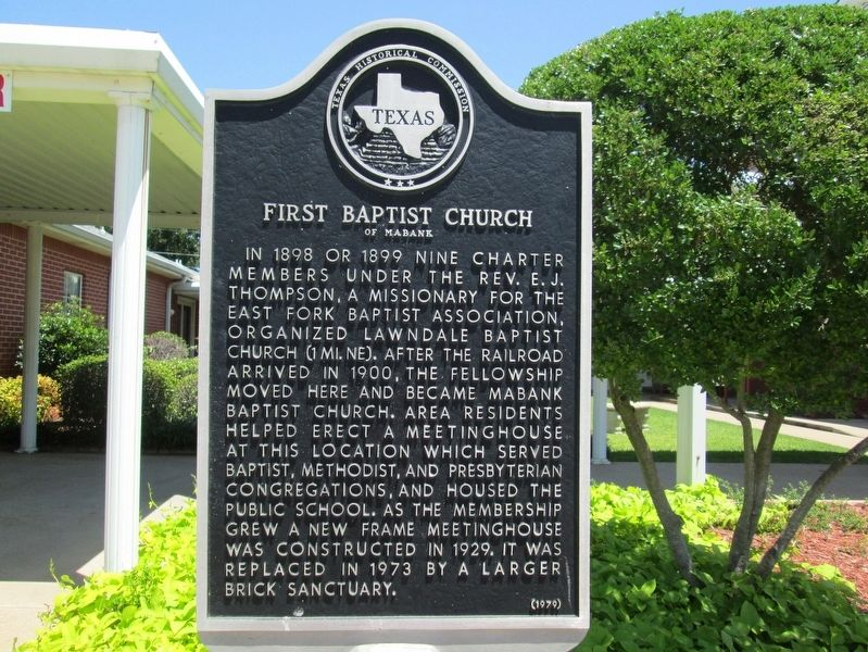 First Baptist Church of Mabank Marker image. Click for full size.