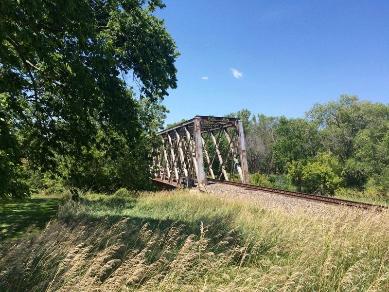 Current railroad bridge - site of former Hangman's Bridge. image. Click for full size.