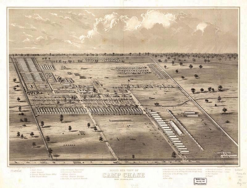 Bird's eye view of Camp Chase near Columbus, Ohio. National Archives G4084.C6:2C3A3 186- .R8 image. Click for full size.