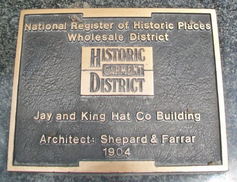 Jay and King Hat Co Building Marker image. Click for full size.