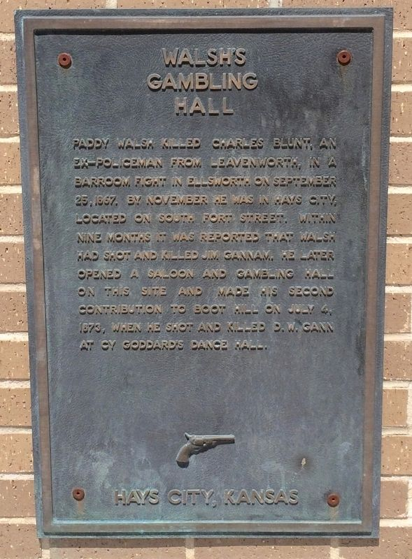 Walsh's Gambling Hall Marker image. Click for full size.
