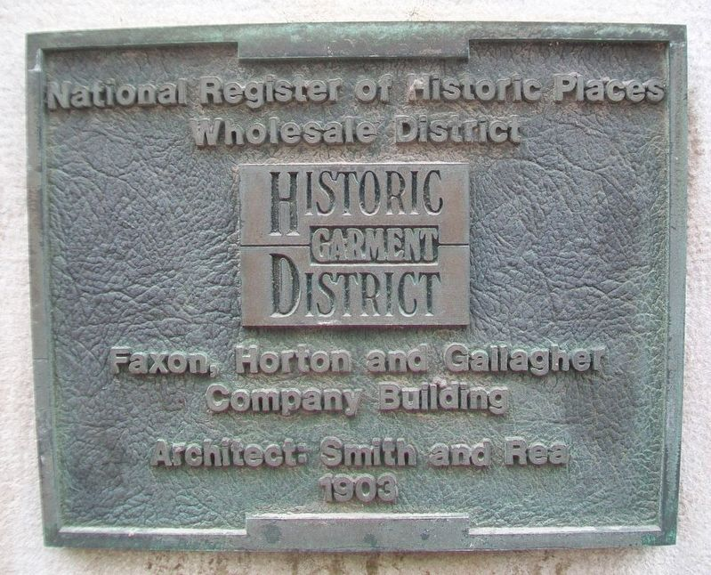 Faxon, Horton and Gallagher Company Building Marker image. Click for full size.