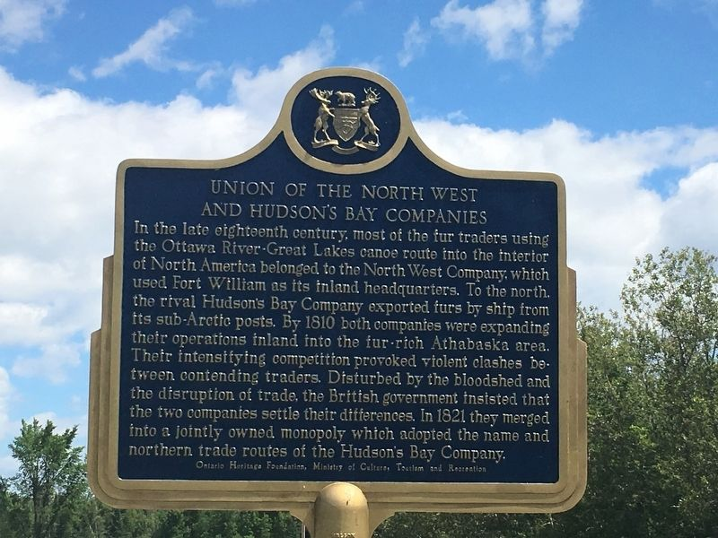 Union of the North West and Hudson's Bay Companies Marker image. Click for full size.