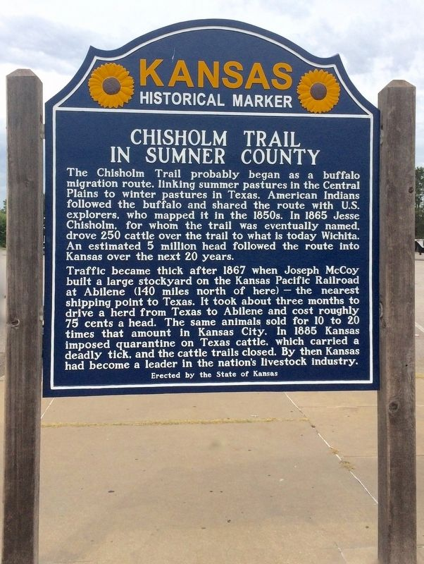 Chisholm Trail in Sumner County Marker image. Click for full size.