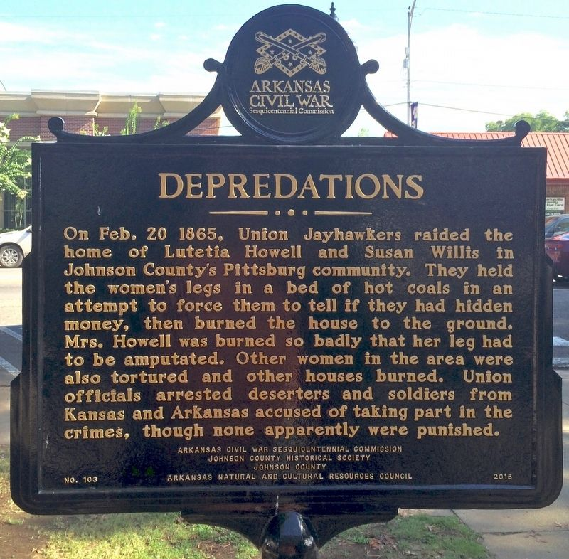 Depredations Marker (Side 2) image. Click for full size.