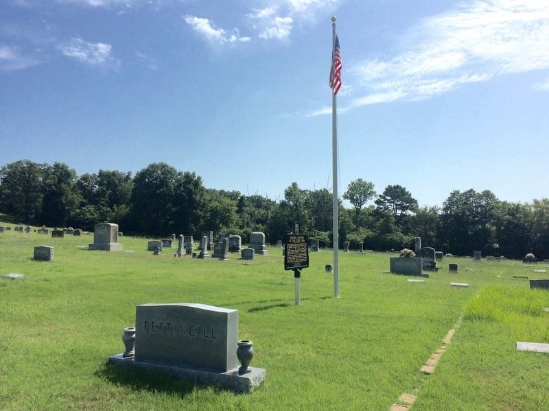 Wide view in Plumerville Cemetery of Marker. image. Click for full size.
