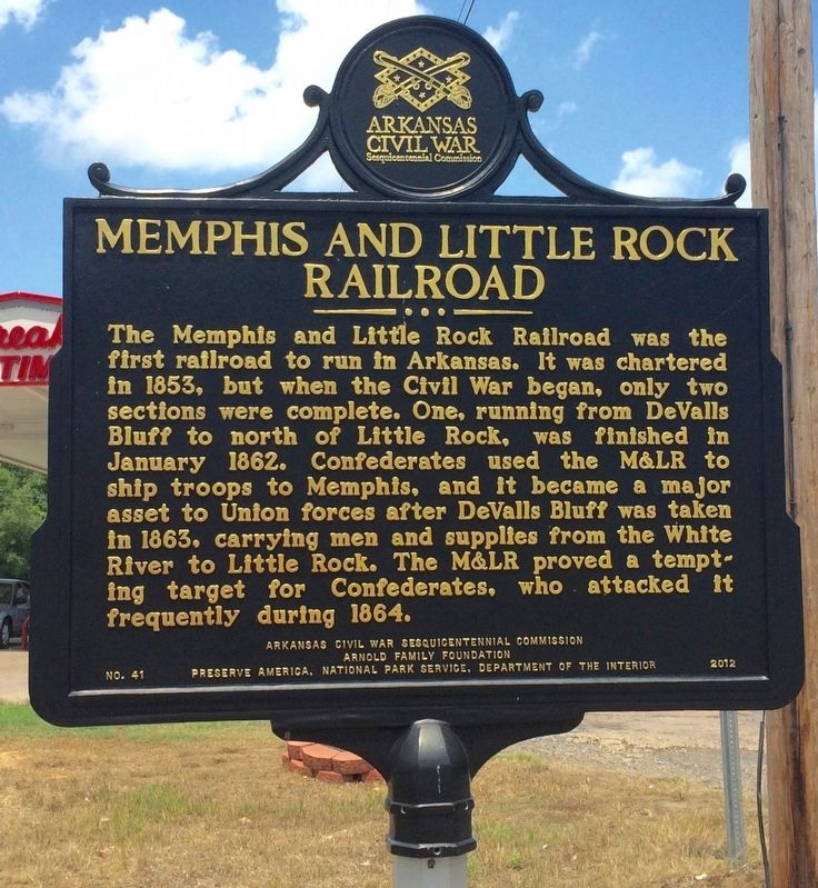Memphis and Little Rock Railroad Marker image. Click for full size.