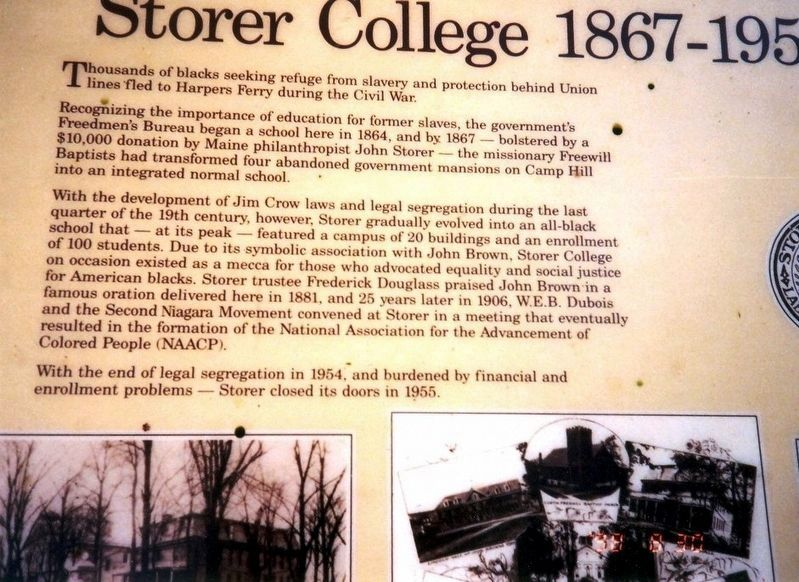 Storer College 1867-1955 Marker image. Click for full size.
