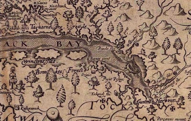 Section of an ancient map by John Smith image. Click for full size.