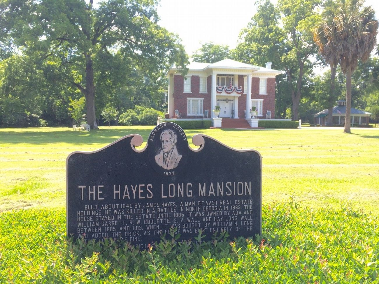 The Hayes Long Mansion and Marker. image. Click for full size.