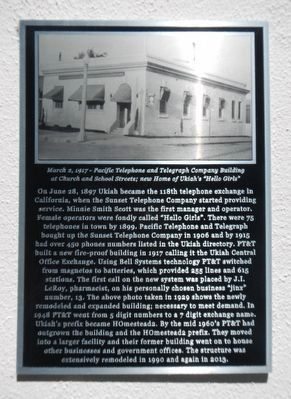 Ukiah Telephone Exchange Marker image. Click for full size.