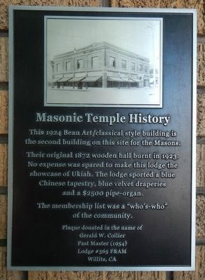 Masonic Temple History Marker image. Click for full size.