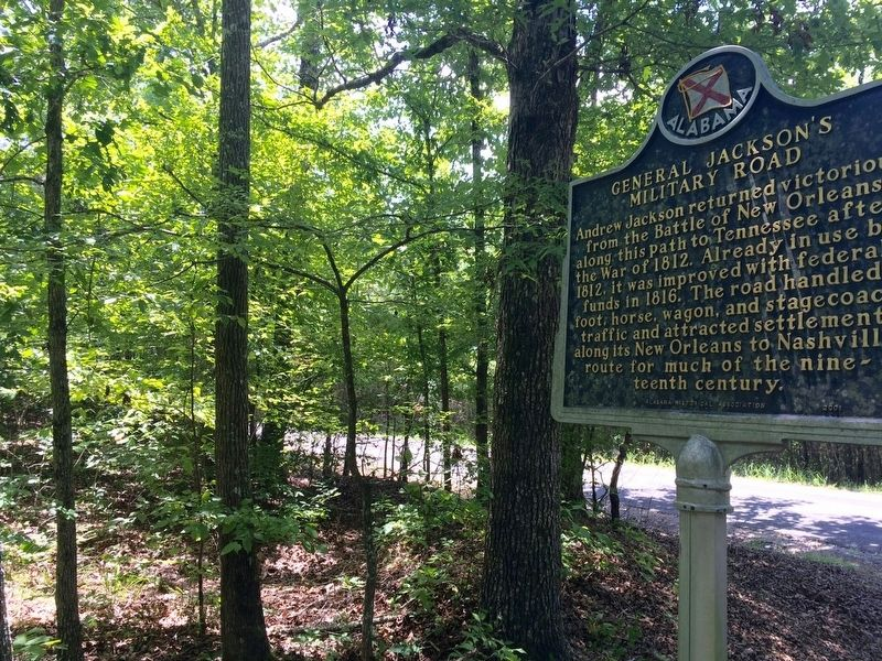 Marker looking towards location of old military road. image. Click for full size.