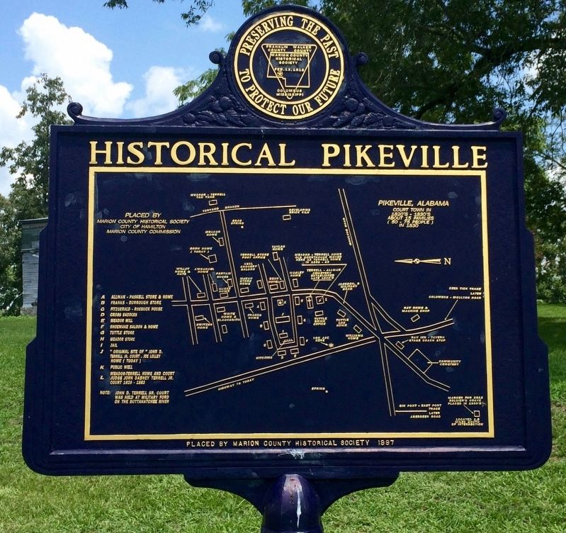 Map of former town of Pikeville. image. Click for full size.