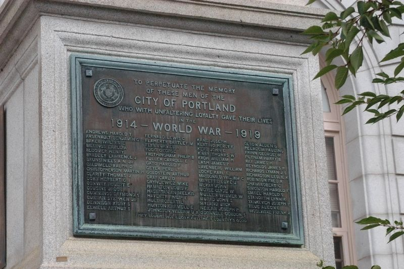 Portland Maine World War I Marker image. Click for full size.