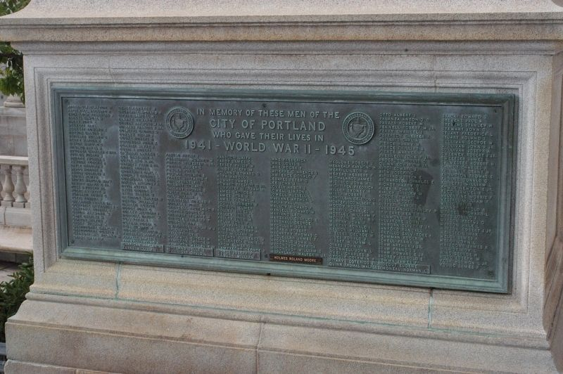 Portland Maine World War II Memorial Marker image. Click for full size.